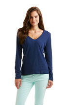 Long-Sleeve Heathered V-Neck Slub Tee