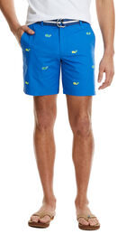 7 Inch Summer Whale Embroidered Breaker Shorts