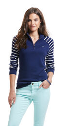 Stripe Sleeve 1/4-Zip Sweater