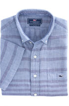 Short-Sleeve Mainsail Stripe Slim Tucker Shirt