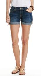 Cuffed Dark Wash Denim Shorts