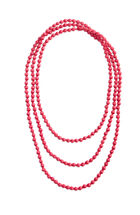 Long Strand Silk Wood Bead Necklace