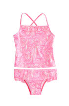 Girls Shell Print Ruffle Tankini