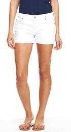 Cuffed White Denim Shorts