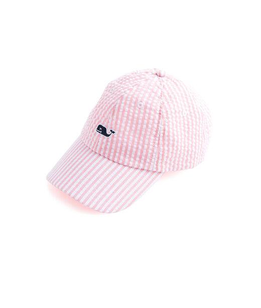 Pink Seersucker Logo Hat