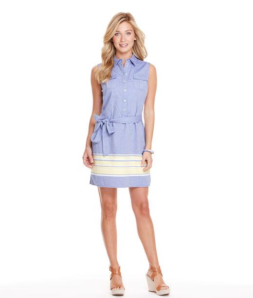 Border Stripe Oxford Shirt Dress