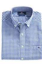Contrast Thread Walkaround Gingham Performance Slim Tucker Shirt