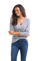 Long-Sleeve Heathered V-Neck Stripe Slub Tee