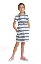 Girls Triple Stripe Cotton Dress