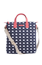 Caning Canvas Saffiano North South Tote