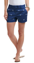 Whale Embroidered Washed Dayboat Shorts