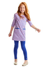 Girls Whale Tail Printed Knit Dress