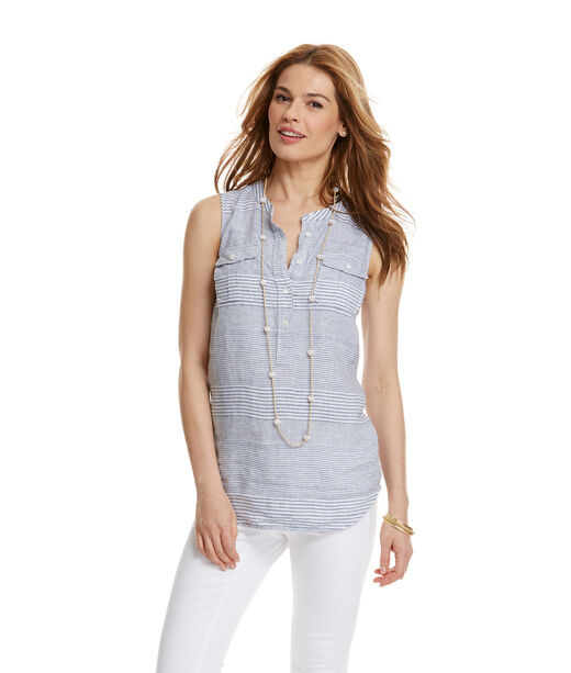 Variegated Linen Stripe Sleeveless Camp Popover