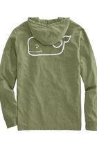 Long-Sleeve Heather Whale Hoody Pocket T-Shirt