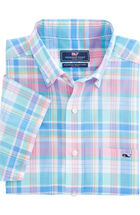 Short-Sleeve Chipping Green Plaid Classic Tucker Shirt
