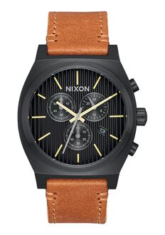Time Teller Chrono Leather, Black / Stamped / Brown