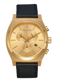 Time Teller Chrono Leather, All Gold / Black