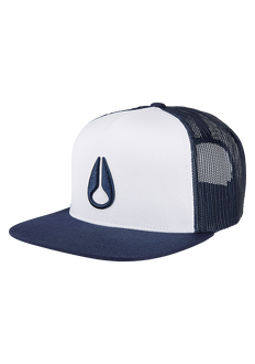 Deep Down Trucker Hat, White / Navy