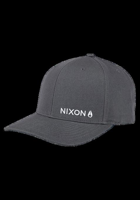 Lockup Snapback Hat, Charcoal / White