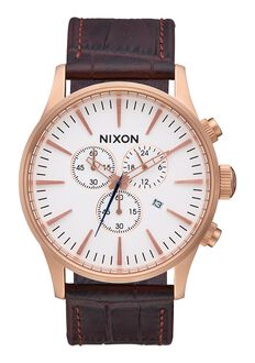 Sentry Chrono Leather, Rose Gold / Brown Gator
