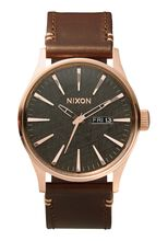 Sentry Leather, Rose Gold / Gunmetal / Brown