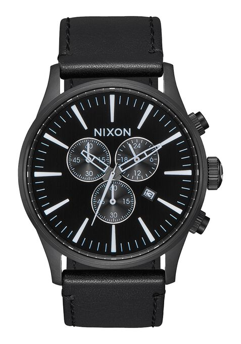 Sentry Chrono Leather, All Black / White