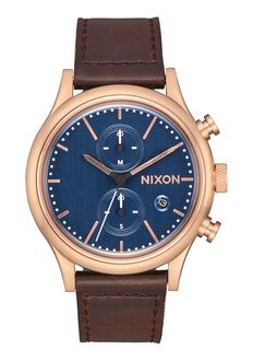 Station Chrono Leather, Rose Gold / Slate / Dark Brown