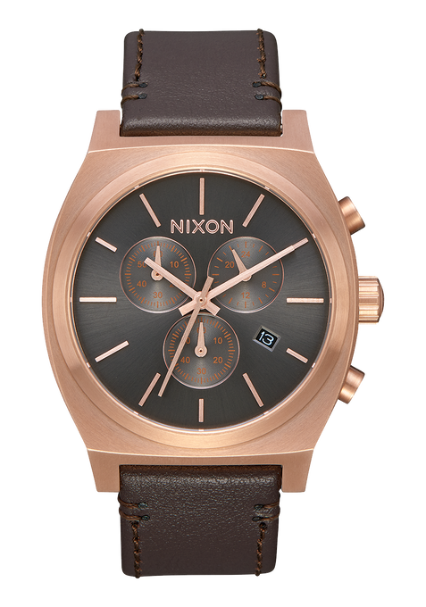 Time Teller Chrono Leather, Rose Gold / Gunmetal / Brown