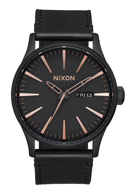 Sentry Leather, All Black / Rose Gold