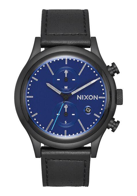 Station Chrono Leather, All Black / Blue
