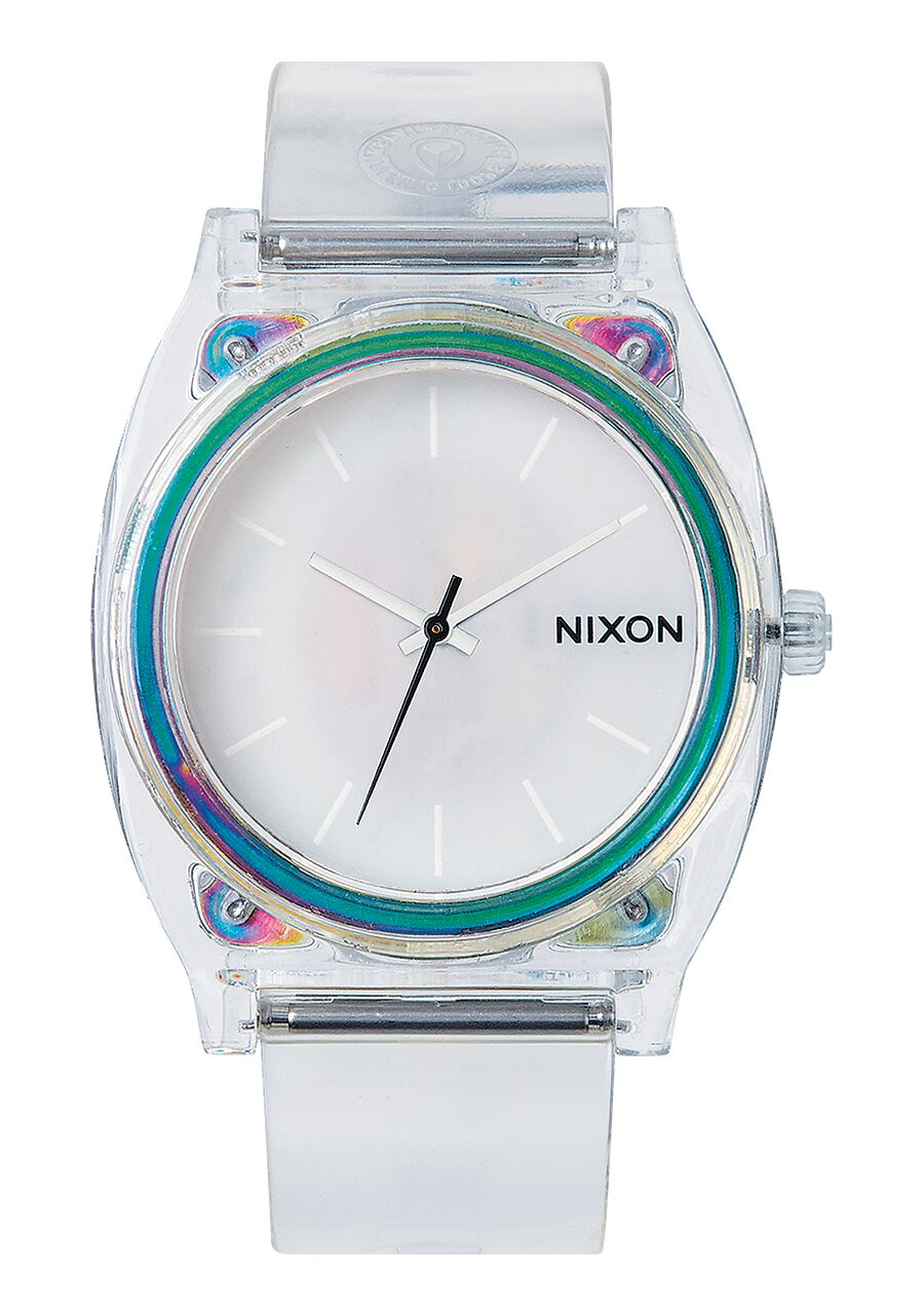 normal in product nixon time watch clear watches translucent small accessories teller metallic gallery lyst