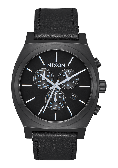 Time Teller Chrono Leather, All Black / White