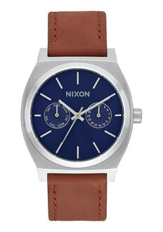 Time Teller Deluxe Leather, Navy Sunray / Brown