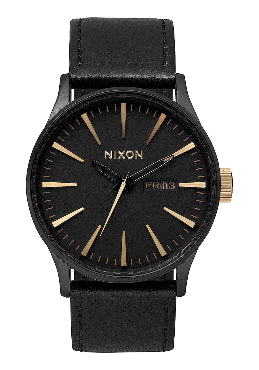 men s watches nixon watches and premium accessories sentry leather matte black gold