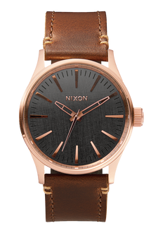 Sentry 38 Leather, Rose Gold / Gunmetal / Brown