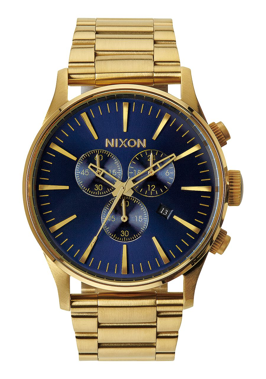 sentry chrono men s watches nixon watches and premium accessories sentry chrono gold blue sunray