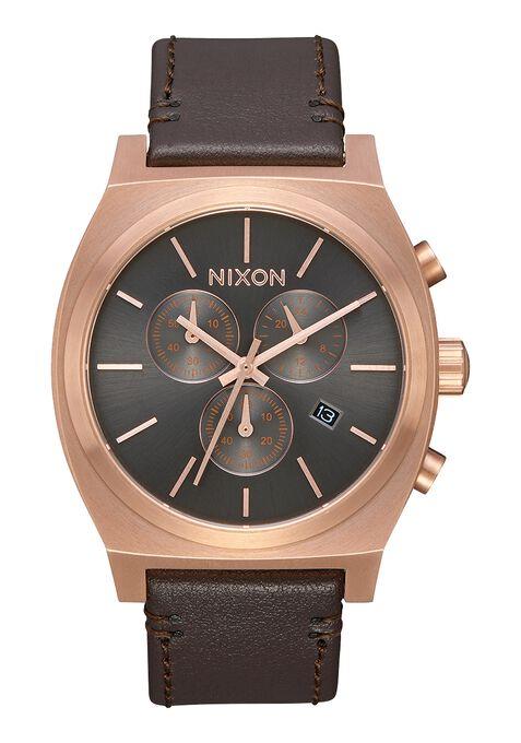 Time Teller Chrono Leather, Rose Gold / Gunmetal / Brown