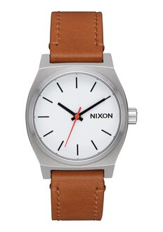 Medium Time Teller Leather, White / Saddle