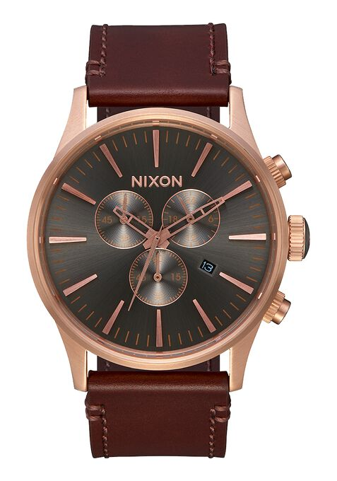 Sentry Chrono Leather, Rose Gold / Gunmetal / Brown