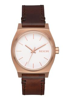Medium Time Teller Leather, Rose Gold / White / Brown