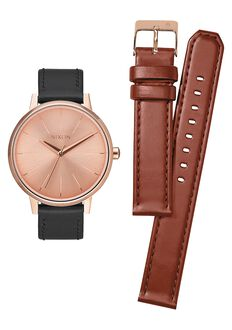 Coffret Cadeau Kensington, Rose Gold / Saddle / Black