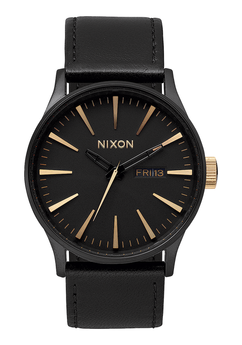 Sentry Leather, Matte Black / Gold