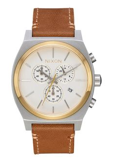 Time Teller Chrono Leather, Gold / Cream / Tan
