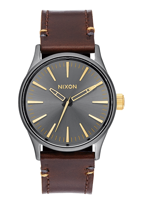 Sentry 38 Leather, Gunmetal / Gold
