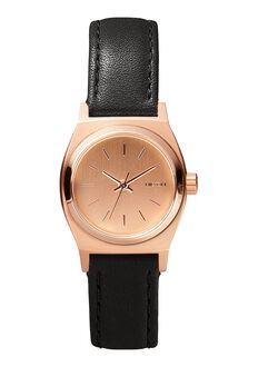 Small Time Teller Leather, All Rose Gold / Black