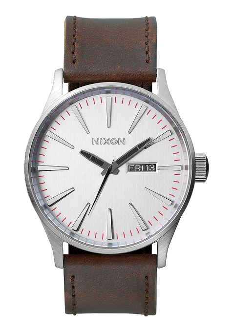 Sentry Leather, Silver / Brown
