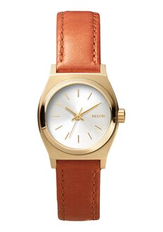 Small Time Teller Leather, Light Gold / Saddle
