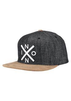 Exchange Snapback Hat, Black Denim
