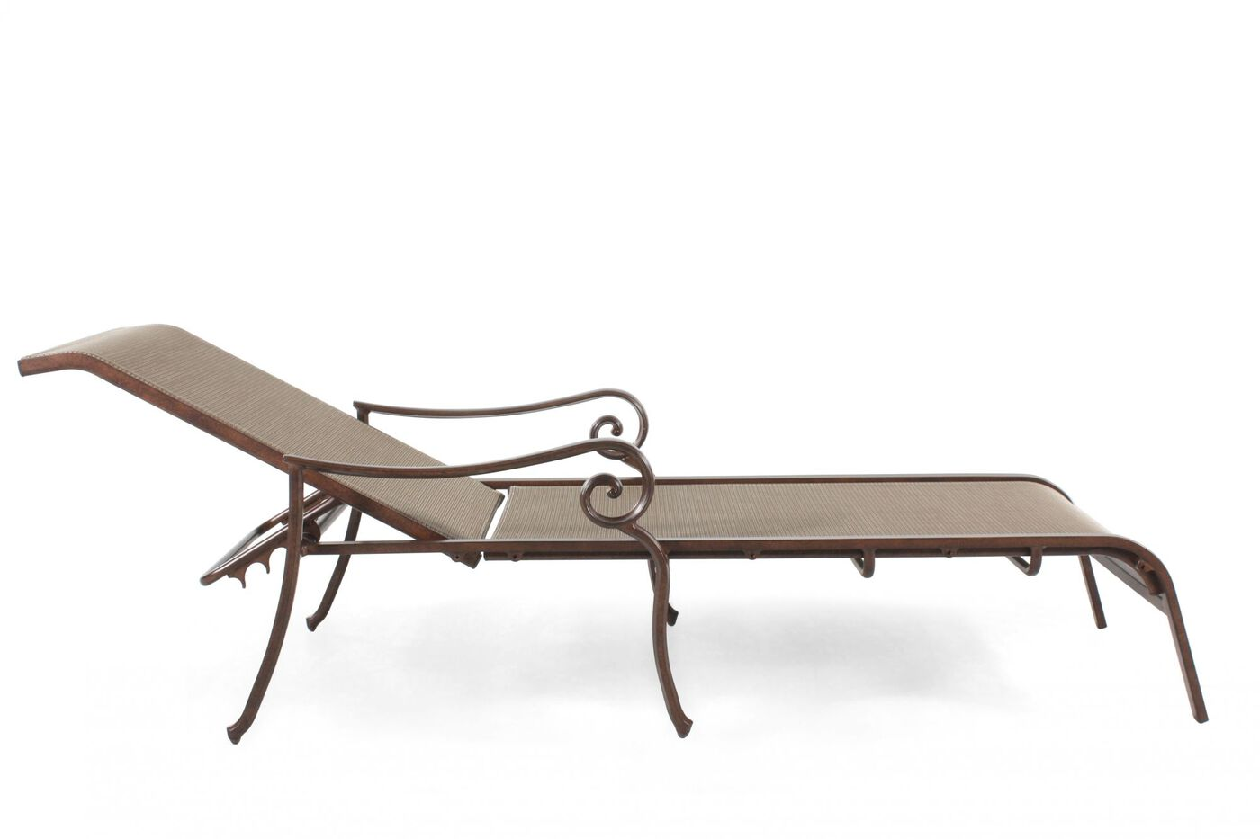 Agio burgandy sling chaise lounge mathis brothers furniture for Agio sling chaise lounge