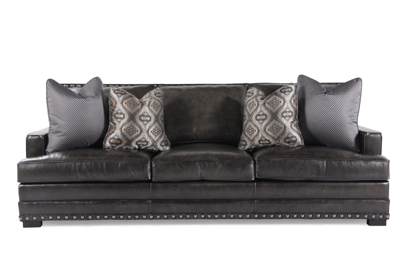 Bernhardt cantor graphite leather sofa mathis brothers for Bernhardt furniture